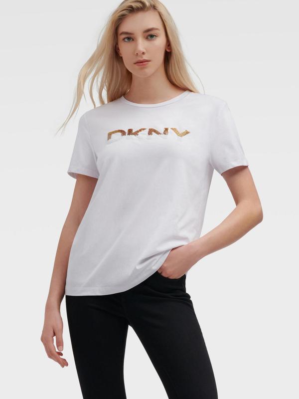 Dkny Tribal Print Logo Tee In White/sun Multi