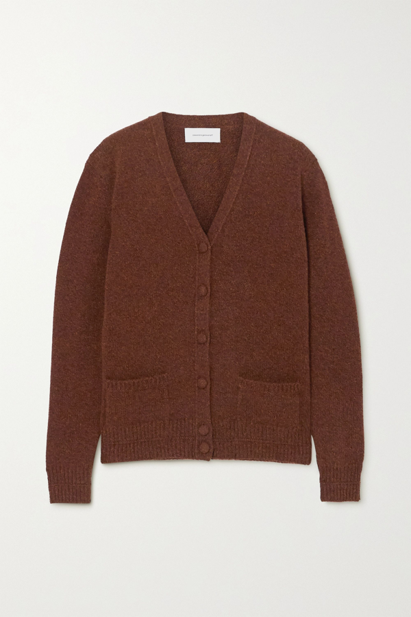 Alexandra Golovanoff Thérèse Wool And Cashmere-blend Cardigan In Brown