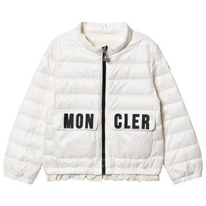 Moncler Kids'  White Violette Branded Down Jacket
