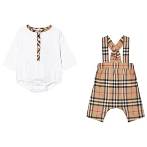 Burberry Babies' 2-piece Archive Check Romper Set In White