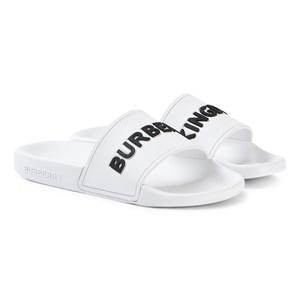 Burberry White Furley Branded Sliders
