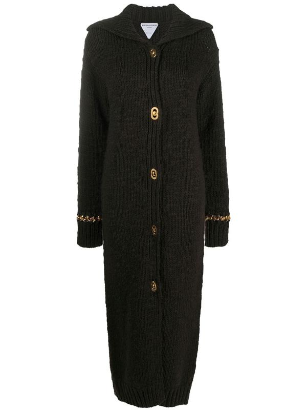 Bottega Veneta Button-front Knitted Cardigan In Brown