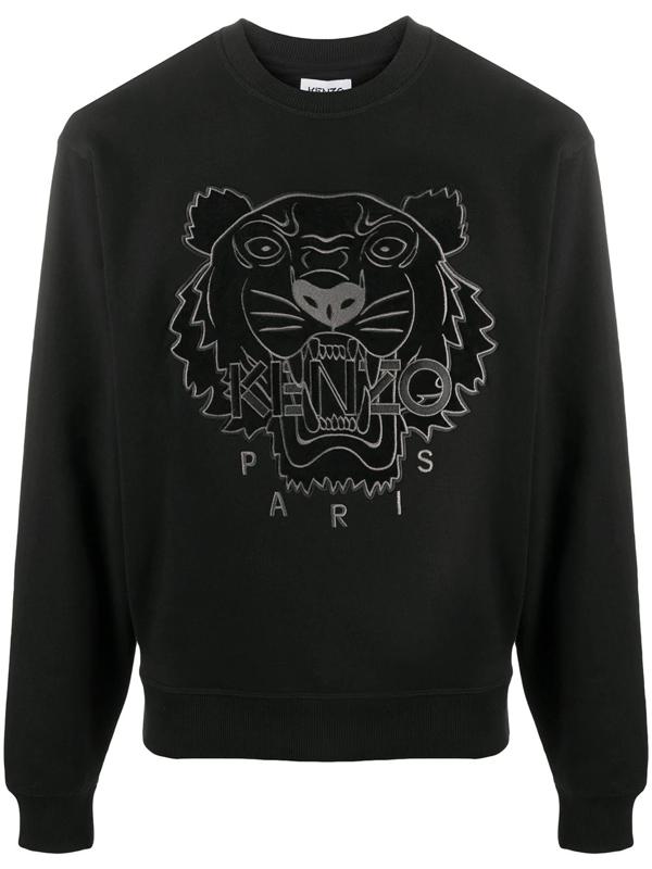 Kenzo Tiger Cotton Sweatshirt In Black