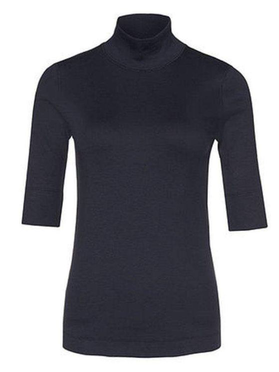 Marc Cain Basic Turtle-neck Top In Ribbed Jersey Navy +e 48.04 J50 In Blue