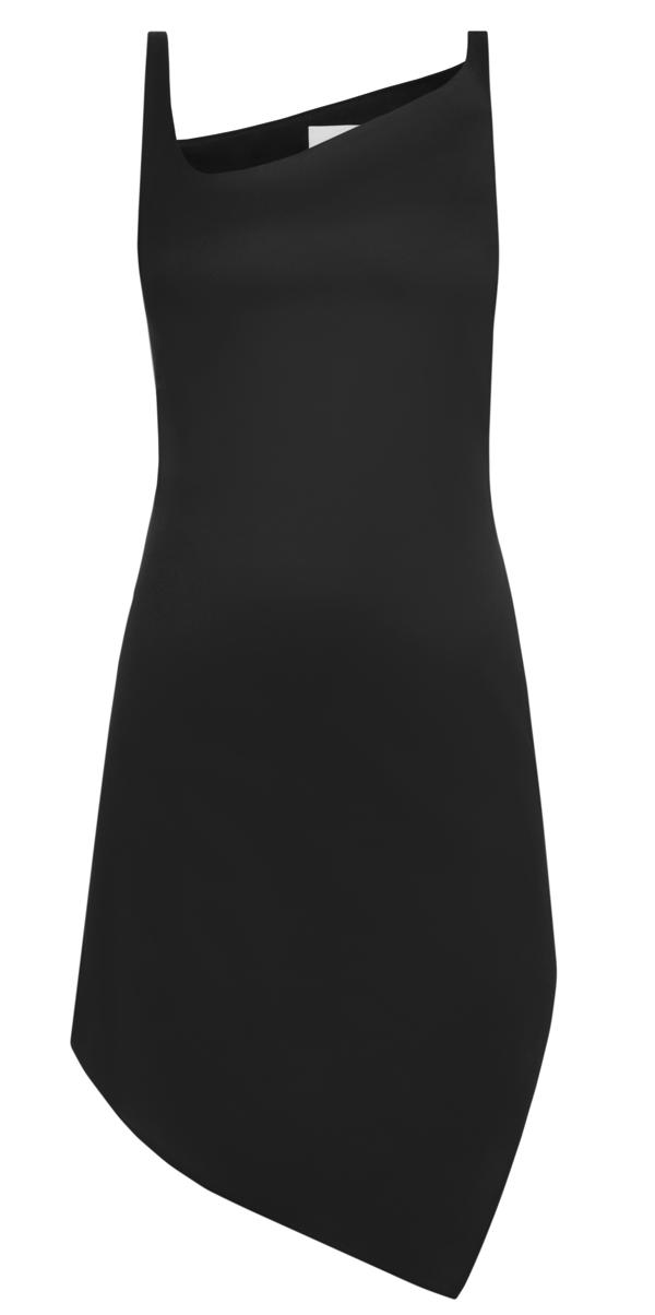Coperni Asymmetrical Mini Dress In Black