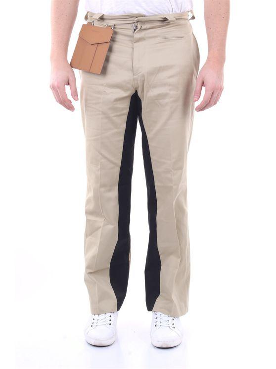Palm Angels Beige And Black Pocket Pants In Brown
