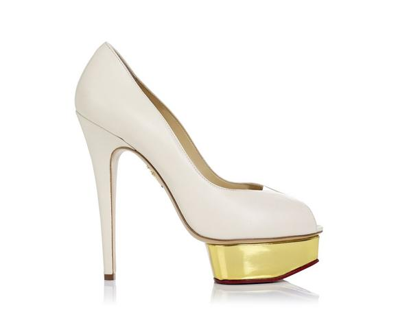 Charlotte Olympia Dolly Off White Pump W/Gold Platform In Saed