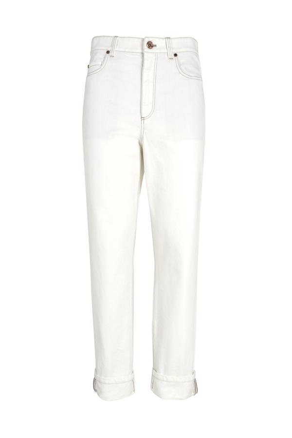 Brunello Cucinelli Women's White Cotton Jeans In Bianco