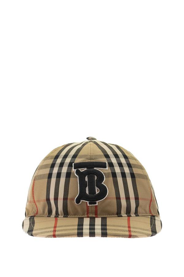 Burberry Monogram Motif Vintage Check Cotton Baseball Cap In Archive Beige