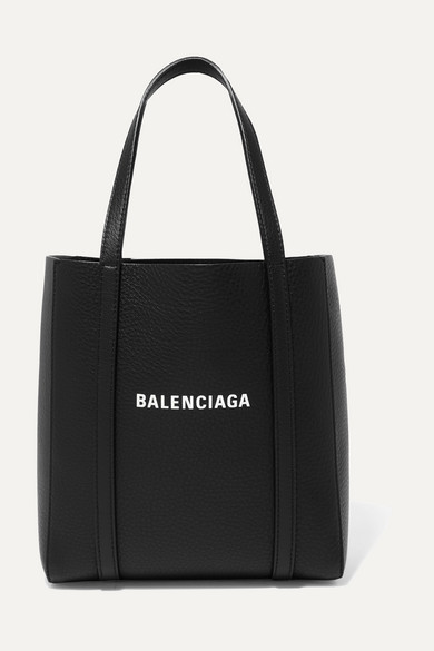 Balenciaga Everyday Mini Printed Textured-leather Tote In Black