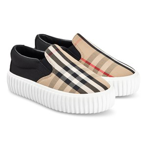 Burberry Black And Check Erwin Slip On Shoes
