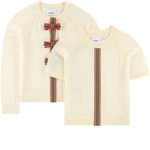 Burberry Kids'  Wool Cardigan And Pullover In Cream
