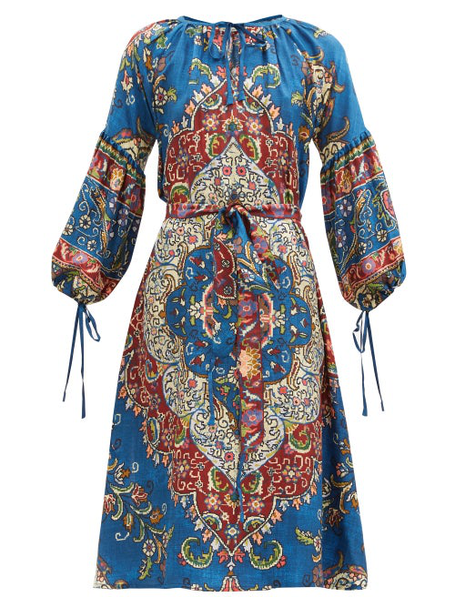 D'ascoli Taraz Belted Floral-print Silk Dress In Blue Multi
