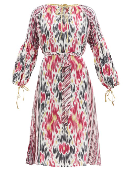 D'ascoli Amina Belted Ikat-print Silk-crepe Dress In Pink Multi