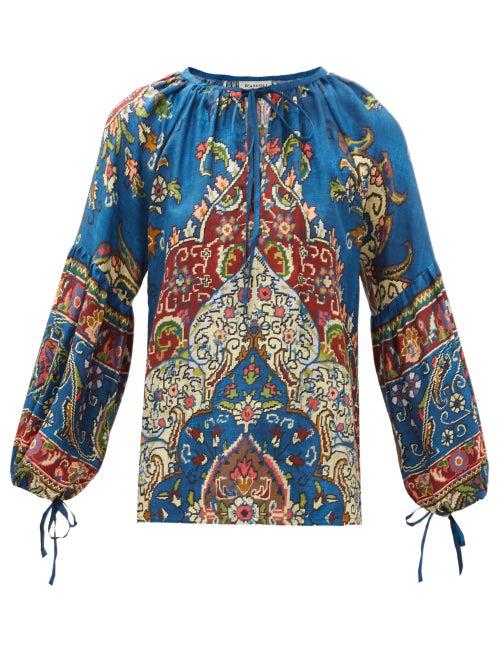 D'ascoli Taraz Tie-neck Floral-print Silk Blouse In Blue Multi