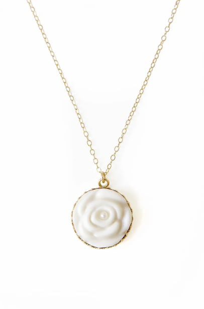 Poporcelain Women's Porcelain Rose With Pearl Gold-filled Necklace