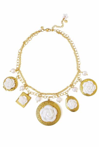 Poporcelain Women's Porcelain Floral Lockets Statement Necklace