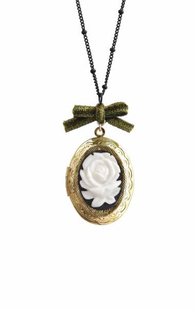 Poporcelain Women's Dark Romance Rose Porcelain Cameo Locket Necklace