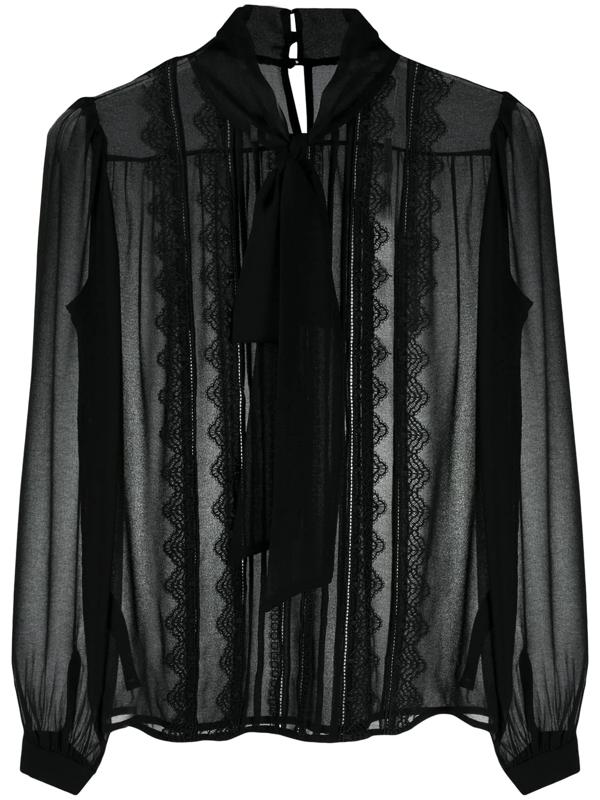 Self-portrait Lace Detail Chiffon Blouse In Black