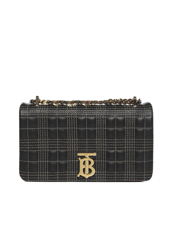 Burberry Lola Quilted Check Leather Small Bag In Black