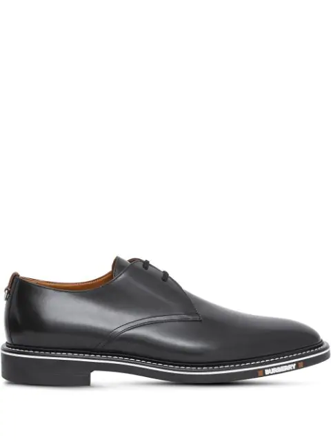 Burberry Leather Logo-detail Derby Shoes In Black