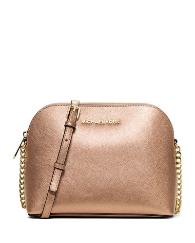 Michael Michael Kors Large Cindy Dome Metallic Crossbody In Pale Gold