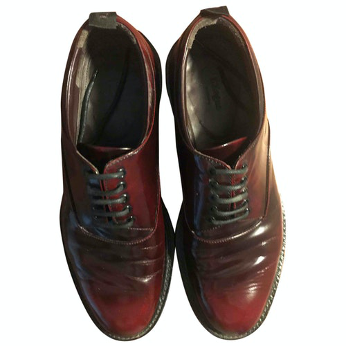 Pre-owned Z Zegna Burgundy Leather Lace Ups