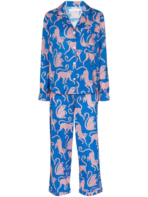 Desmond & Dempsey Chango Monkey Print Pyjamas In Blue