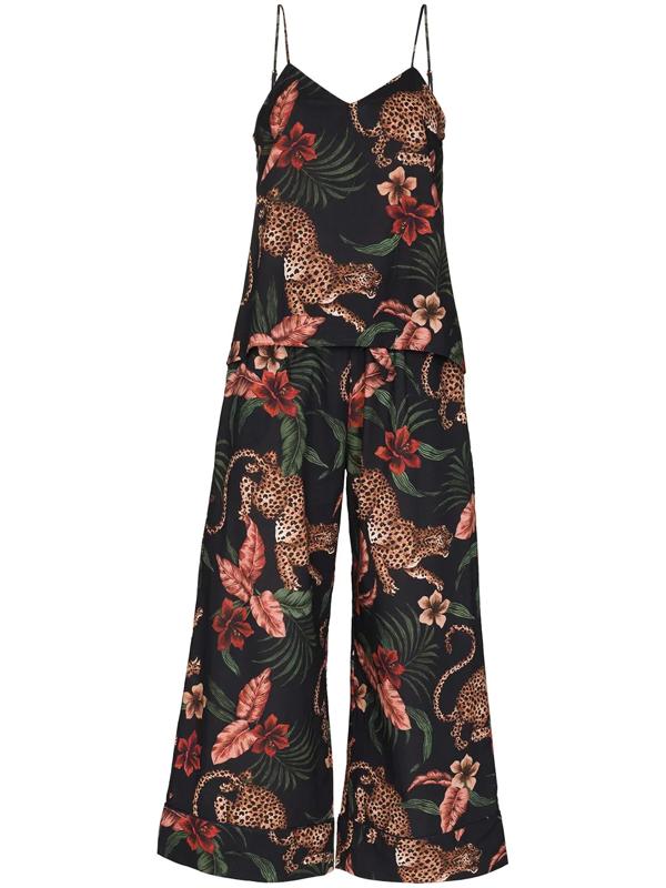 Desmond & Dempsey Soleia Leopard-print Pyjama Set In Blue
