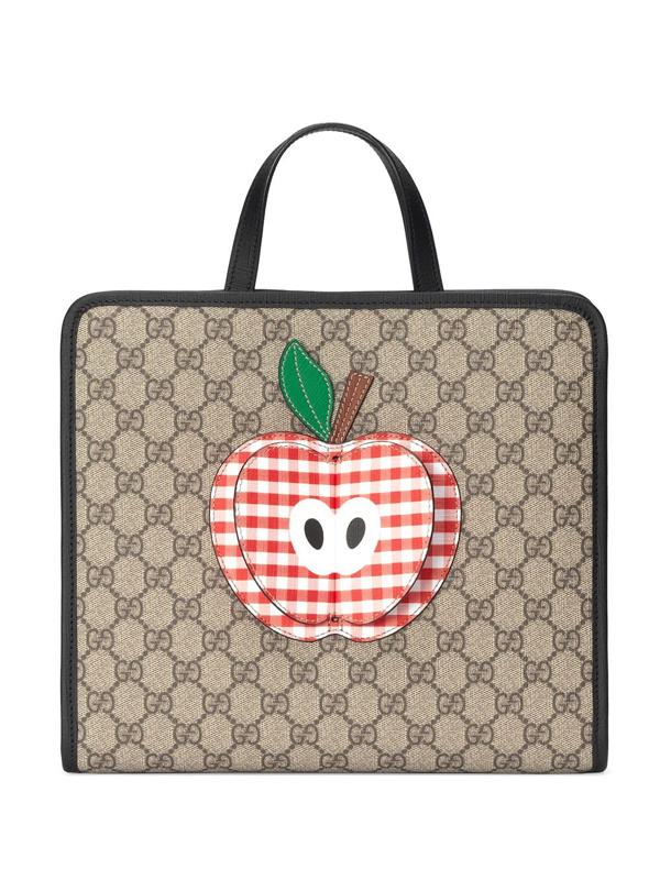 Gucci Kids' Gg Canvas Supreme Appliqued Shoulder Bag In Neutrals