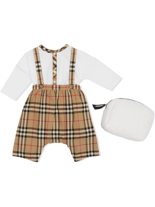 Burberry Babies' Nova Check Dungaree Set In White