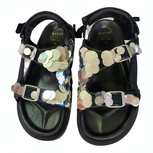 Pre-owned Sacai Black Leather Sandals