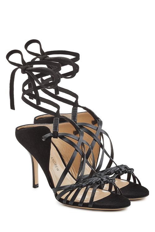 Paul Andrew Sandals With Leather And Suede In Black