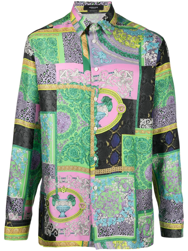 Versace Baroque Patchwork Multicolor Shirts In Green