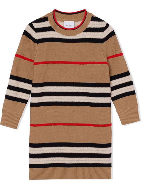 Burberry Kids' Icon Stripe Jumper Dress In Archive Beige