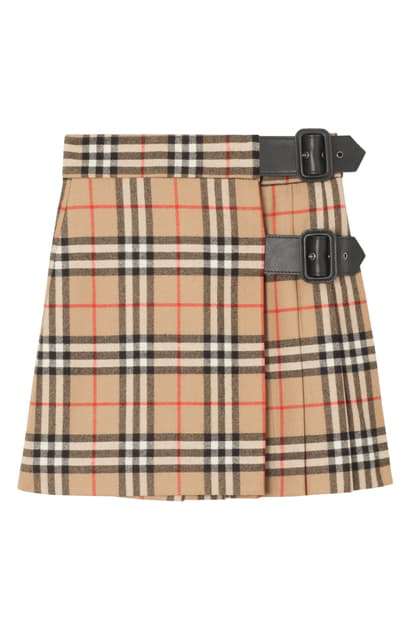 Burberry Kids' Luiza Check Wool Skirt In Archive Beige Check