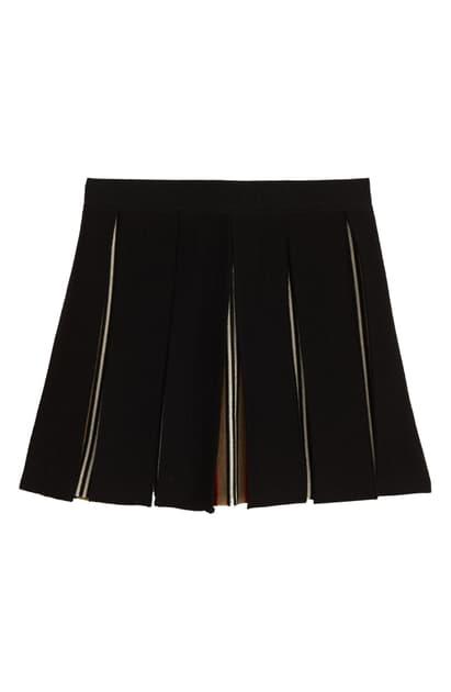 Burberry Kids' Amelia Pleated Wool Blend Skirt In Black