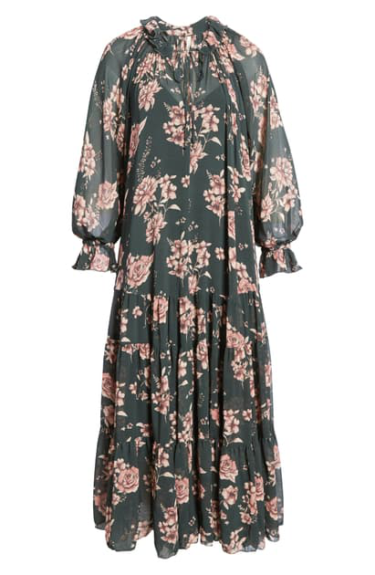 Free People Feeling Groovy Floral-print Chiffon Midi Dress In Forest Combo