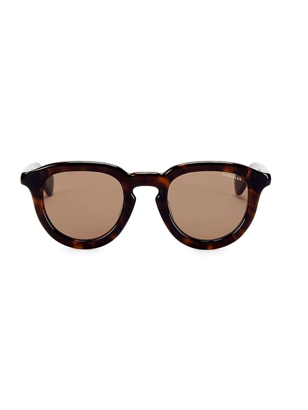 Moncler Men's 48mm Round Sunglasses In Havana