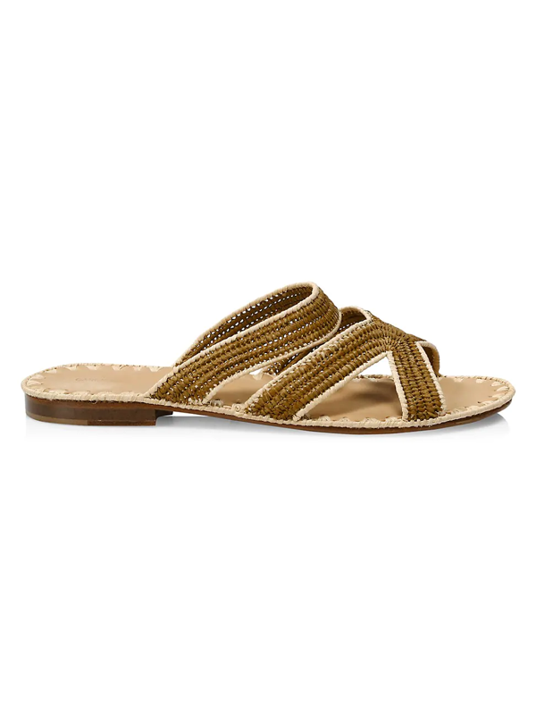 Carrie Forbes Women's Ela Raffia Slide Sandals In Chestnut