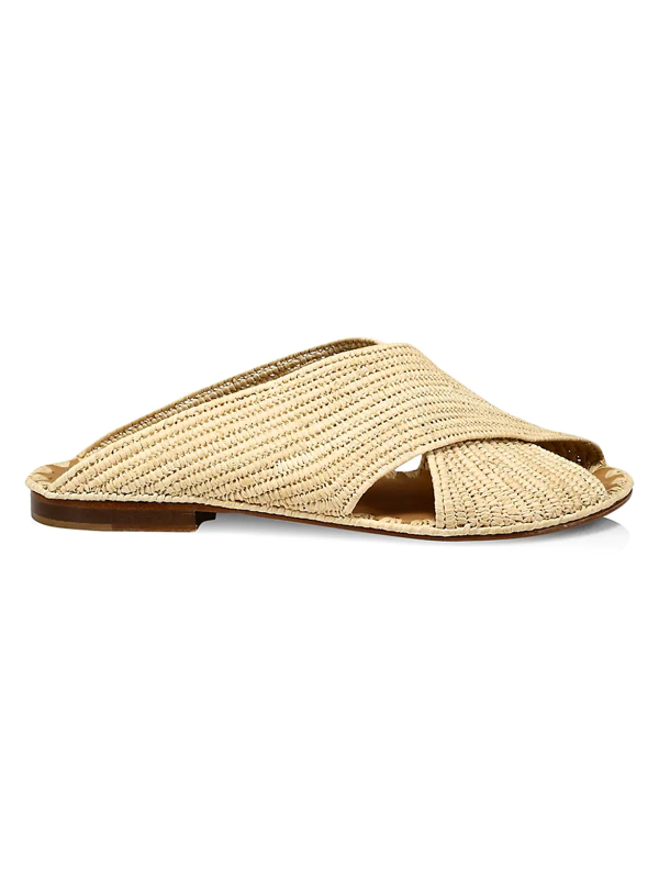 Carrie Forbes Women's Arielle Raffia Slide Sandals In Natural