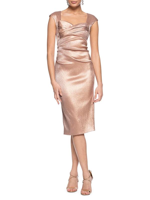 Theia Women's Cap-sleeve Stretch Metallic Dress In Dusty Rose
