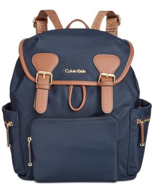 Calvin Klein Double Buckle Backpack In Navy