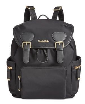 Calvin Klein Double Buckle Backpack In Black