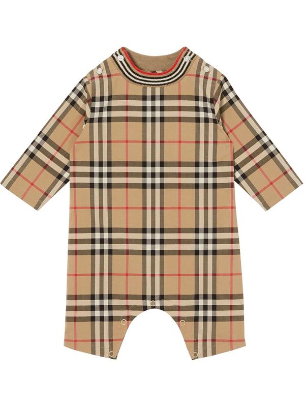 Burberry Beige Babygrow For Babykids With Vintage Checks In Neutrals