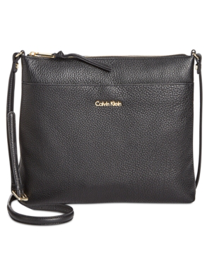 Calvin Klein Lily Pebble Leather Crossbody In Black