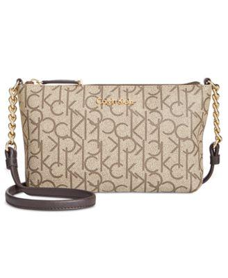 10259a625 Calvin Klein Hayden Mini Monogram Crossbody In Textured Taupe/Brown/Brown