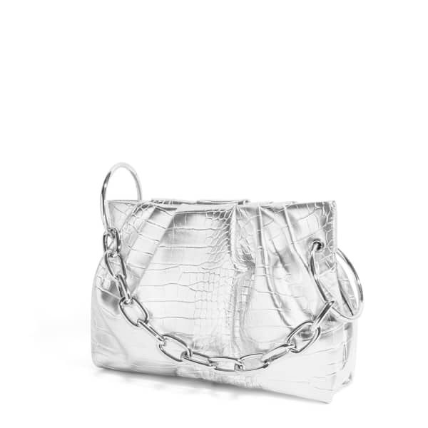 House Of Want Chill Framed Clutch In Silver Croco