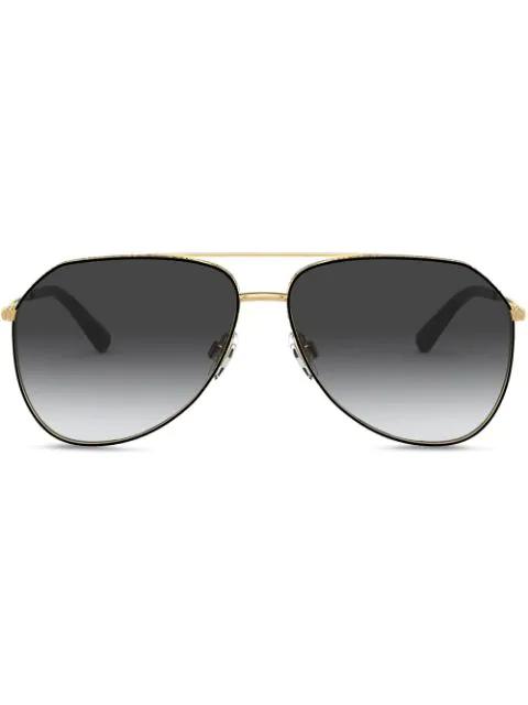 Dolce & Gabbana Plastic/metal Aviator Sunglasses In Black