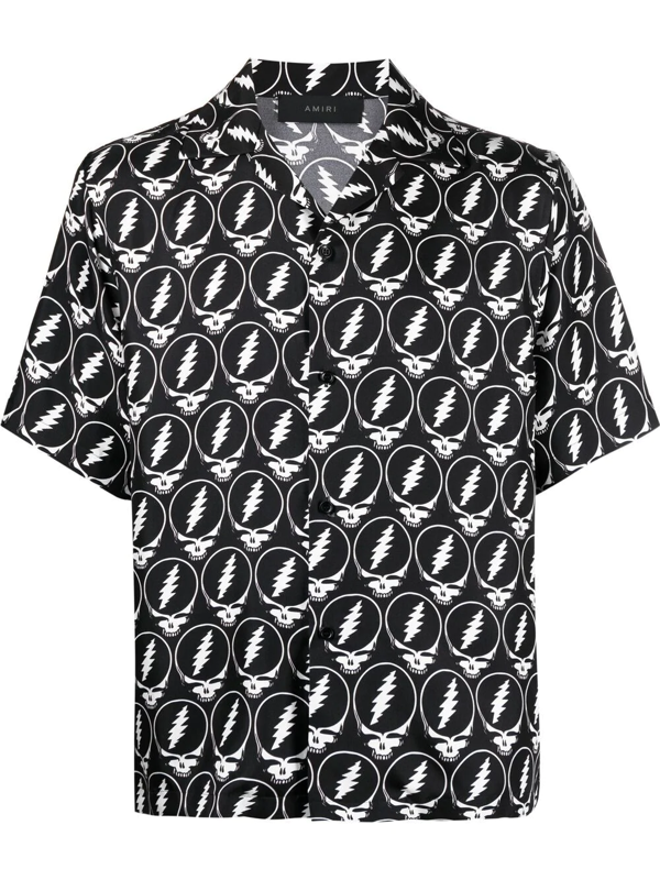 Amiri Grateful Dead Skull Print Short Sleeve Button-up Silk Shirt In Black/ White